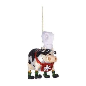 Vianočná závesná ozdoba zo skla Butlers Krava s kuchárskou čapicou, 11,5 cm