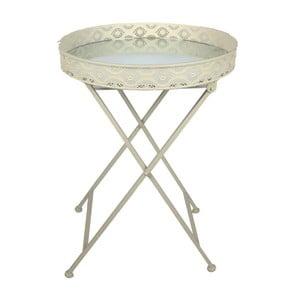 Biely kovový stolík s doskou zo zrkadla InArt Antique