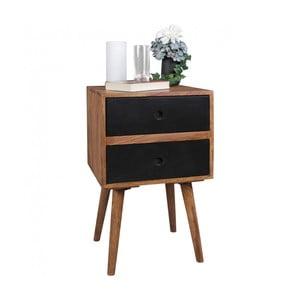 Nočný stolík s čiernymi zásuvkami z masívneho sheeshamového dreva Skyport REPA