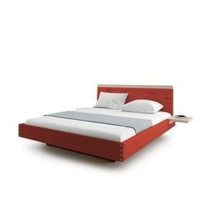 Červená dvojlôžková posteľ z masívneho dubového dreva JELÍNEK Amanta, 200 x 200 cm