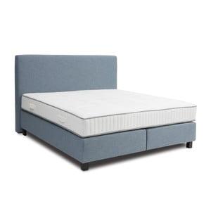 Svetlomodrá boxspring posteľ Revor Roma, 160×200cm