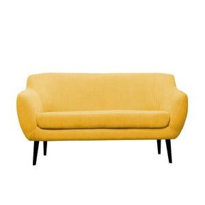 Žltá pohovka pre troch Mazzini Sofas Toscane, čierne nohy