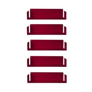 Sada piatich neviditeľných políc Judd U, červené