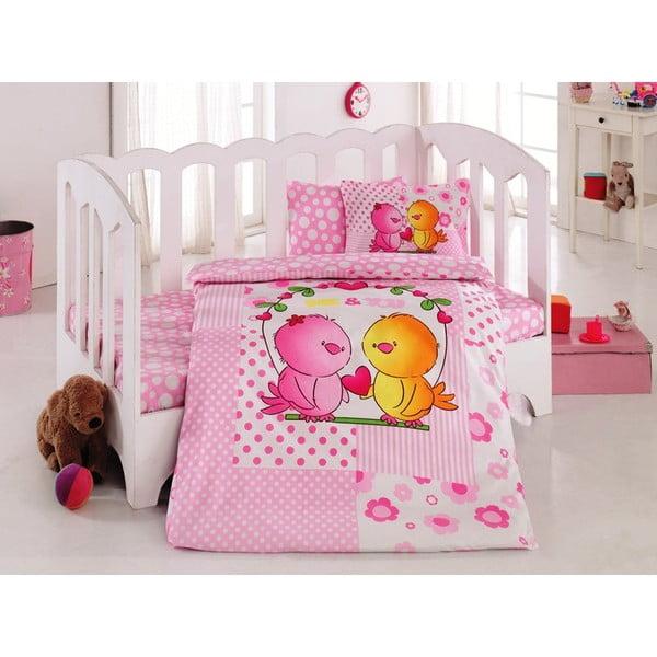Set detských obliečok a plachty Pink Birds, 100x150 cm