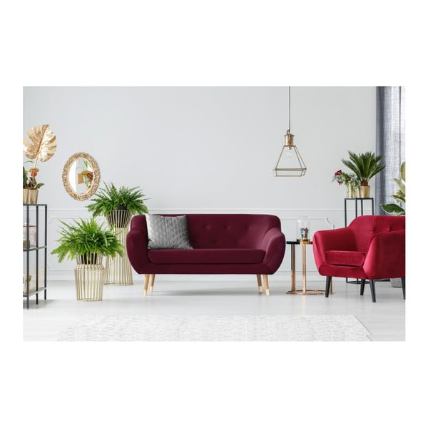 Vínovočervená dvojmiestna pohovka Mazzini Sofas Amelie