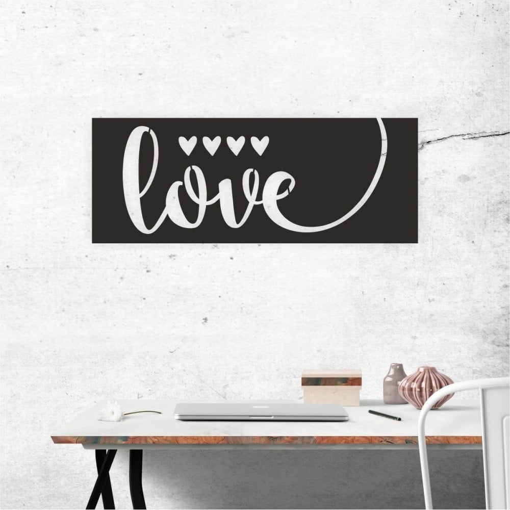 Čierna nástenná samolepiaca dekorácia North Carolina Scandinavian Home Decors Love V1, 65 × 25 cm