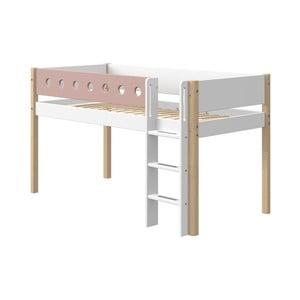 Ružovo-biela detská posteľ s nohami z brezového dreva Flexa White, výška 120 cm