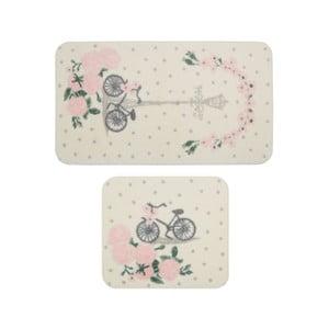 Sada 2 kúpeľňových predložiek Confetti Bathmats Vintage Bike Pink
