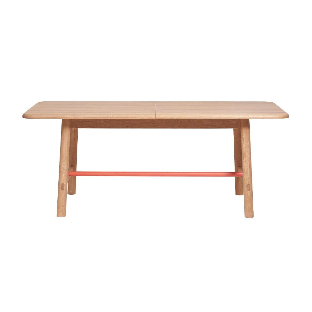 Rozkladací stôl z dubového dreva s koralovočervenou priečkou HARTÔ Helene, šírka 240 cm