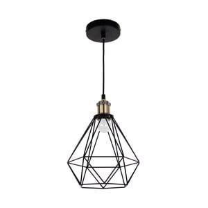 Čierne závesné svietidlo s mosadznou objímkou Masivworks Pyramid