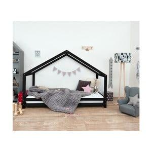 Čierna detská posteľ z lakovaného smrekového dreva Benlemi Sidy, 80 × 200 cm