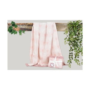 Ružová deka s prímesou bavlny Dolce Bonita Kalp, 155 × 125 cm
