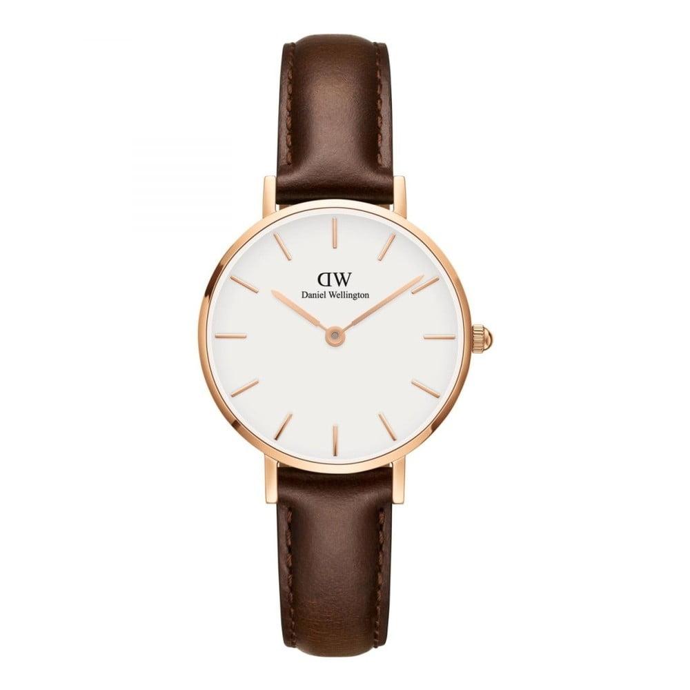 Dámske hodinky s koženým remienkom a bielym ciferníkom s detailmi ružovozlatej farby Daniel Wellington Petite Bristol, ⌀ 28 mm