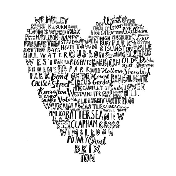 Utierka London Heart, 48x78 cm