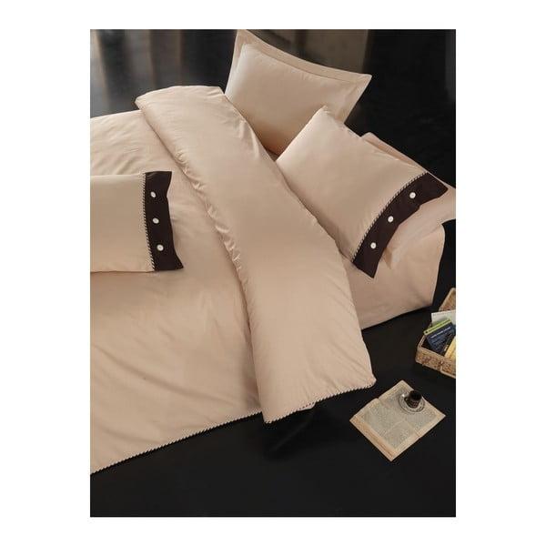 Béžové obliečky s plachtou na dvojlôžko Plain, 200×220 cm