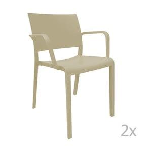 Sada 2 béžových záhradných stoličiek sopierkami Resol Fiona