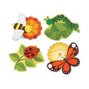Sada 4 skladačiek Petit collage Garden Bugs