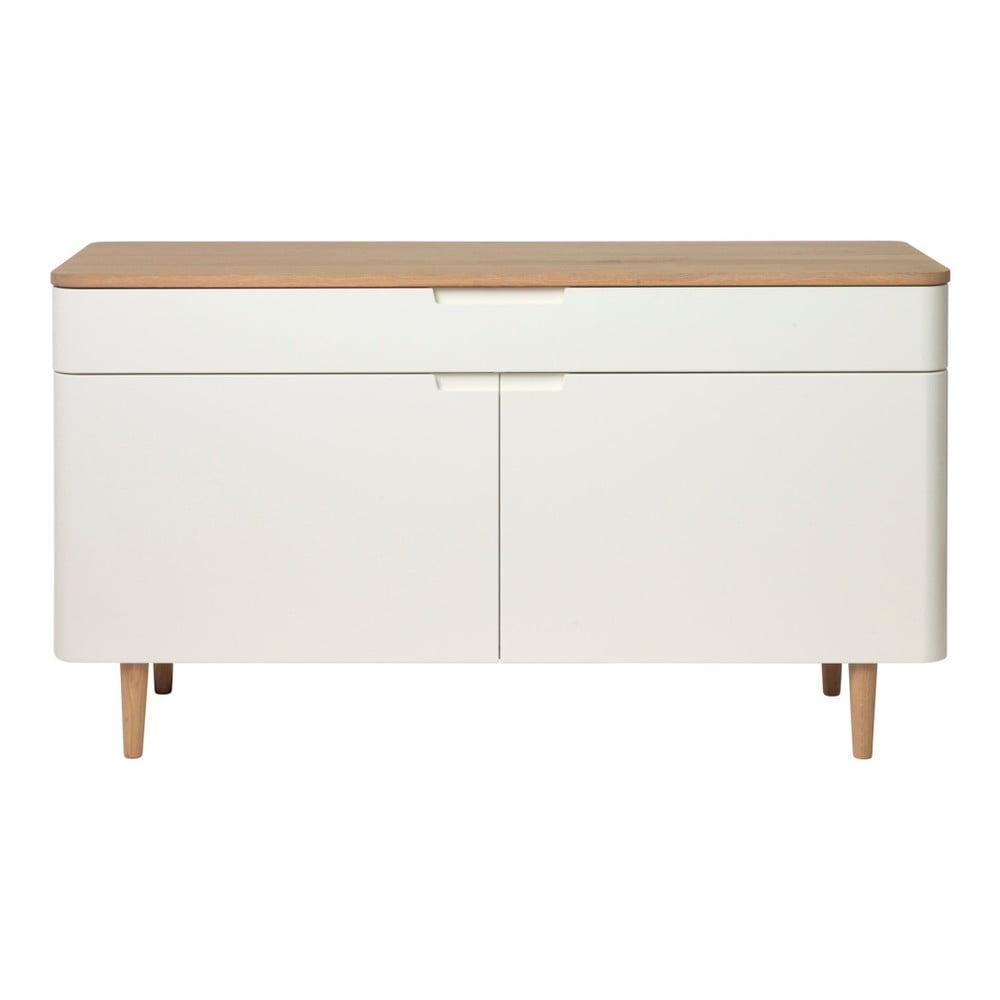 Nízka komoda z dreva bieleho duba Unique Furniture Amalfi