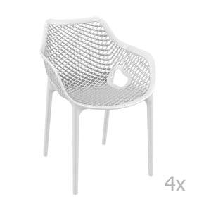 Sada 4 bielych záhradných stoličiek sopierkami Resol Grid