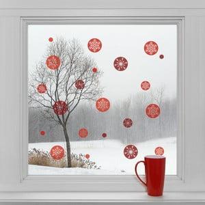 Elektrostatické vianočné samolepky Červené guľaté vločky