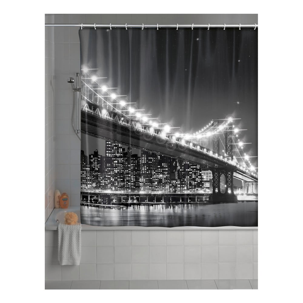 Sivý sprchový záves Wenko Led Brooklyn Bridge, 180 × 200 cm