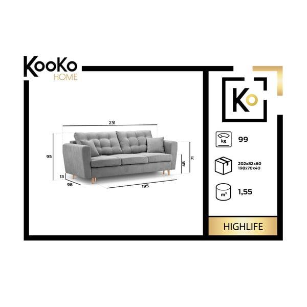 Béžová rozkladacia pohovka s úložným boxom Kooko Home Highlife