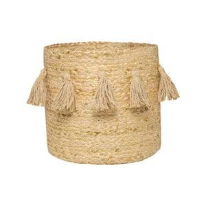 Béžový úložný košík z konopného vlákna Nattiot, Ø30 cm