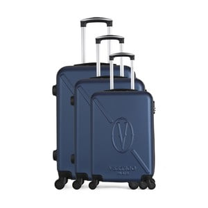 Sada 3 tmavomodrých cestovných kufrov na kolieskach VERTIGO Cadenas Integre Moues