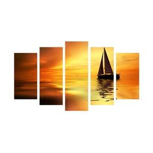 5-dielny obraz Boat in Sunset, 60x100 cm