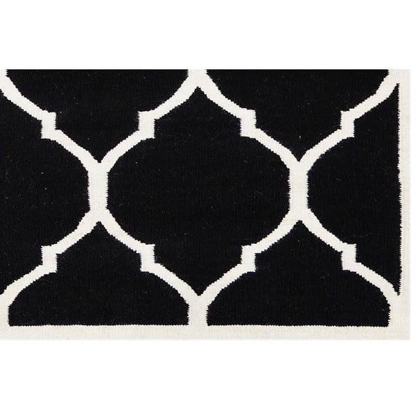 Vlnený koberec Lara, 60x90 cm, čierny