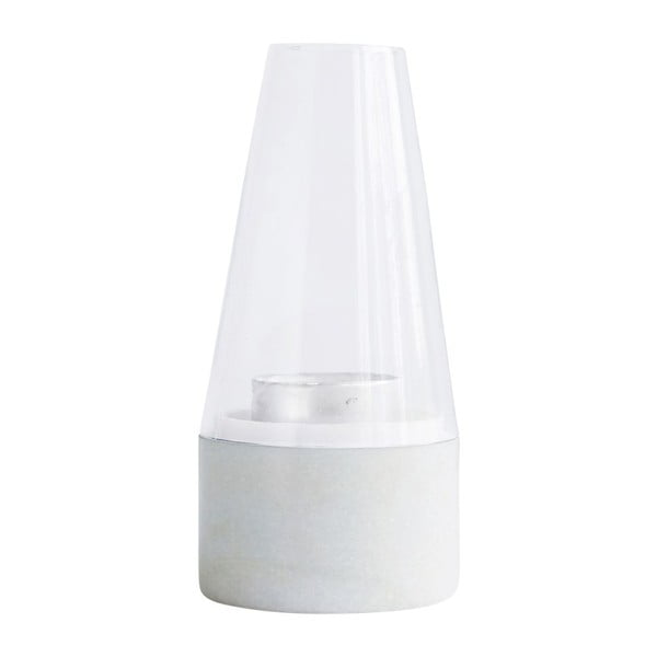 Biely lampáš House Doctor Lantern White Marble, 22 cm