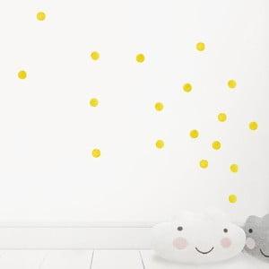 Žlté nástenné znovu snímateľné samolepky Chocovenyl Dots
