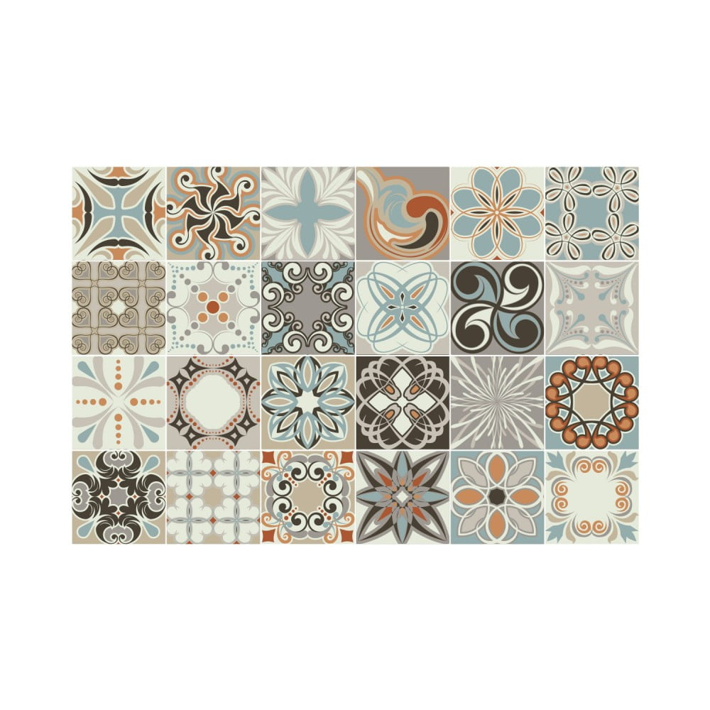 Sada 24 nástenných samolepiek Ambiance Wall Stickers Cement Tiles Rumba, 15 × 15 cm