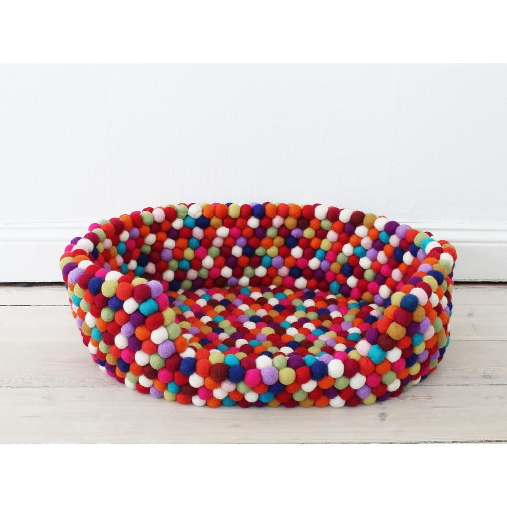 Tmavočervený guľôčkový vlnený pelech pre domáce zvieratá Wooldot Ball Pet Basket, 60 x 40 cm