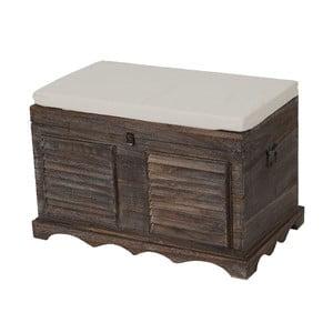Hnedá lavica s úložným priestorom Mendler Shabby
