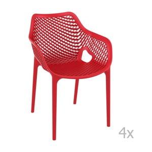 Sada 4 červených záhradných stoličiek sopierkami Resol Grid