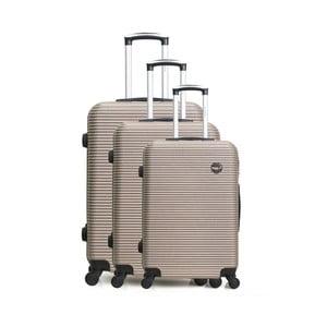 Sada 3 béžových cestovných kufrov na kolieskách Bluestar Vanity
