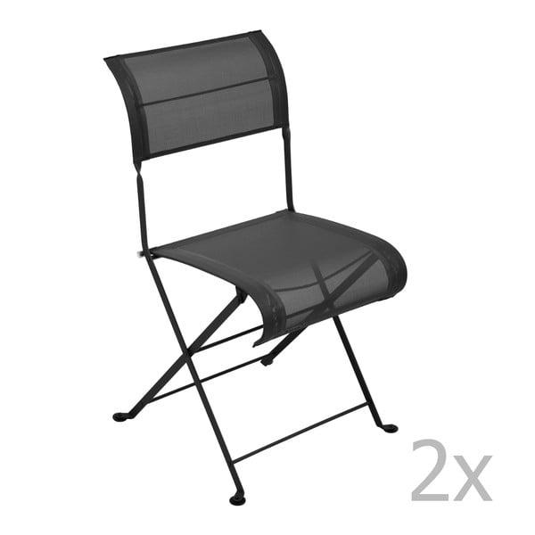 Sada 2 čiernych skladacích stoličiek Fermob Dune