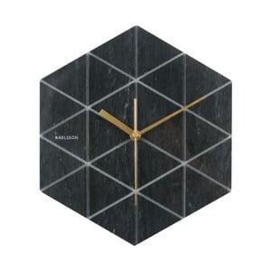 Čierne hodiny Present Time Marble Hexagon