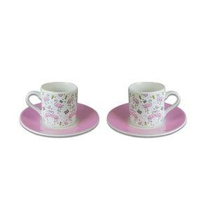 Sada 2 porcelánových šálok s tanierikmi Vivas Flamingo, 330ml