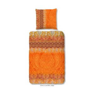 Obliečka na dvojlôžko z bavlneného saténu zouzou Claudia Orange, 200 x 200 cm