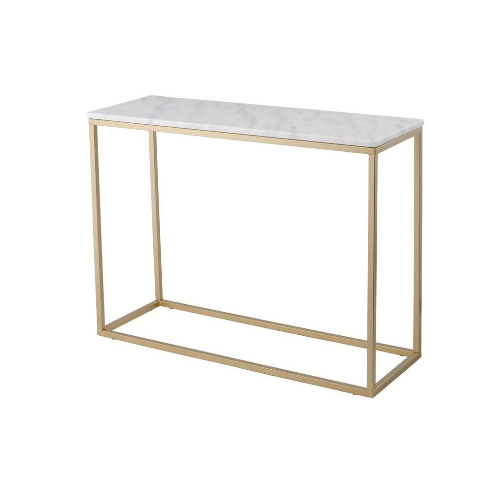 Mramorový konzolový stolík s konštrukciou vo farbe mosadze RGE Accent, výška 75 cm