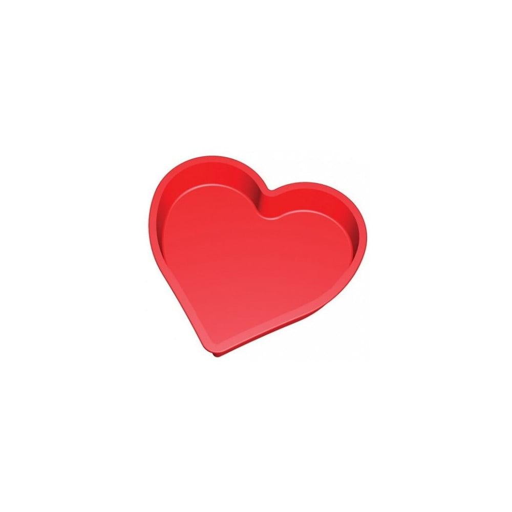Červená silikónová forma v tvare srdca na pečenie Lékué