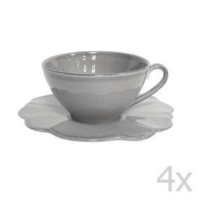 Sada 4 šálok s tanierikmi Grey Petale, 250 ml