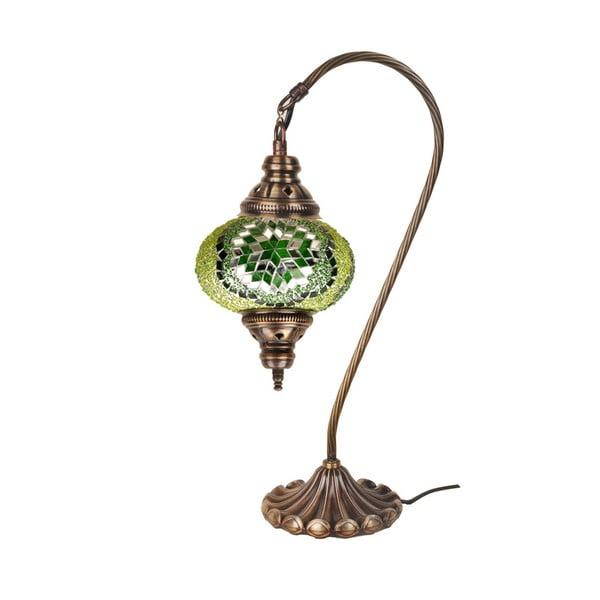Sklenená ručne vyrobená lampa Fishing Emerald, ⌀ 17 cm