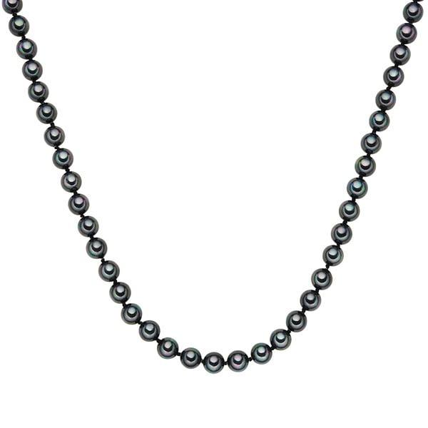 Náhrdelník s antracitovo čiernymi perlami ⌀ 8 mm Perldesse Muschel, dĺžka 80 cm