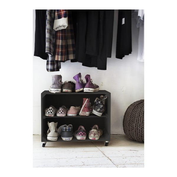 Čierna rustikálna drevená skrinka na topánky Really Nice Things Shoe