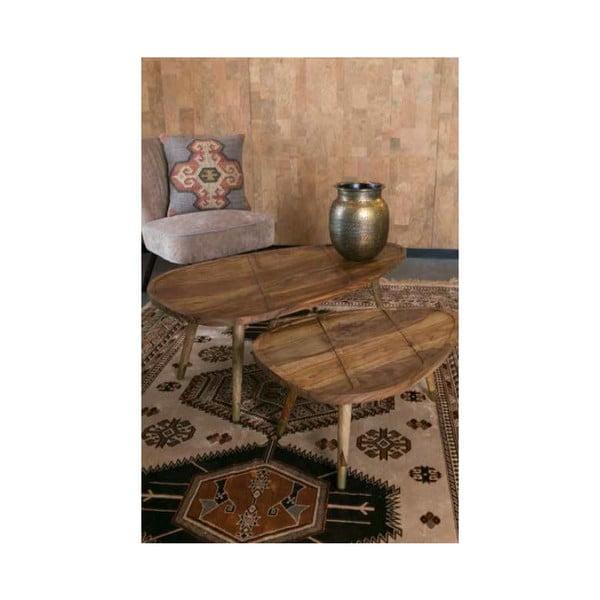 Sada 2 drevených stolíkov Dutchbone Sham