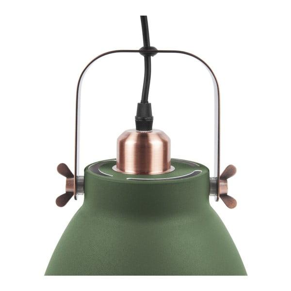 Zelené závesné svietidlo s detailmi v medenej farbe Leitmotiv Mingle, ⌀ 21 cm