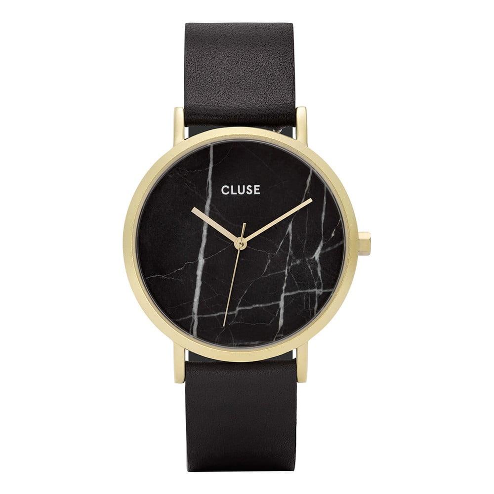 39a3733131 Dámske čierne hodinky s koženým remienkom a mramorovým ciferníkom Cluse La  Roche Rose